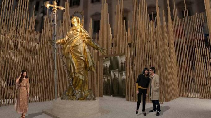 In un rendering l'immagine della struttura ideata per ospitare la mostra dedicata alla Madonnina
